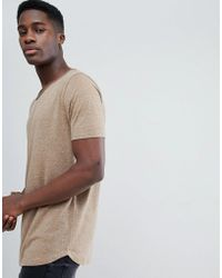 ASOS DESIGN - Relaxed Longline T-shirt With Raw Scoop Neck And Curve Hem In Linen Mix In Brown - Lyst