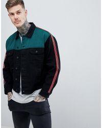 ASOS - Oversized Denim Jacket With Mesh In Black - Lyst