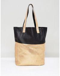 Urbancode - Cracked Gold Leather Shopper Bag - Lyst