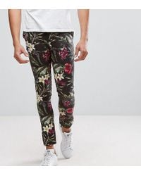 ASOS - Tall Super Skinny Trousers In Bright Floral Leaf Print - Lyst