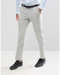 ASOS - Slim Suit Trousers In 100% Wool Harris Tweed Herringbone In Light Grey - Lyst