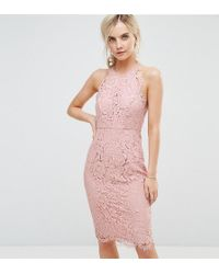ASOS - Scallop Pinny Lace Pencil Midi Dress - Lyst