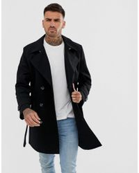 ASOS - Shower Resistant Double Breasted Trench In Black - Lyst