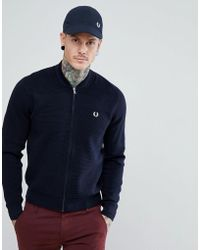 Fred Perry - Knitted Bomber Jacket In Navy - Lyst