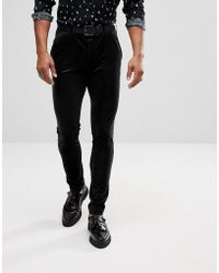 ASOS - Super Skinny Trousers In Black Velvet - Lyst