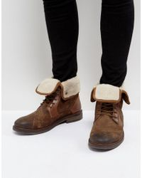 Steve Madden - Turntup Suede Warm Boots In Tan - Lyst