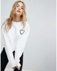 Miss Selfridge - Embroidered Heart Sweatshirt - Lyst