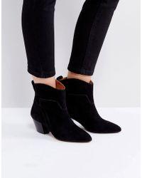 Hudson Jeans - Karyn Black Suede Mid Heeled Ankle Boots - Lyst