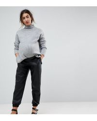ASOS - Low Rise Track Pant In Soft Leather Look - Lyst