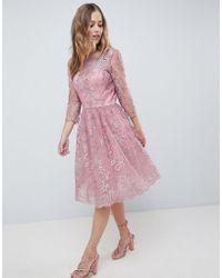 Chi Chi London - Premium Embroidered Long Sleeve Midi Dress - Lyst