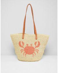 Chateau - Crab Print Straw Beach Bag - Lyst