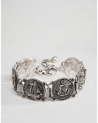 ASOS - Vintage Style Nautical Bracelet In Burnished Silver Tone - Lyst