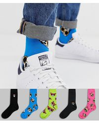 ASOS 5 Pack Ankle Socks With Dog Print And Placement Embroidery Save - Multicolour