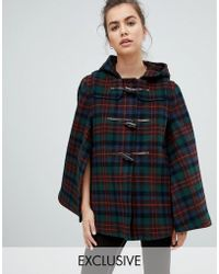 Gloverall - Exclusive Cape Duffle In Plaid - Lyst
