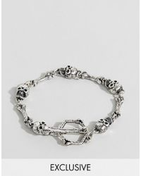 Reclaimed (vintage) - Inspired Chain Bracelet With Skulls Exclusive At Asos - Lyst