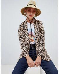 Stradivarius - Longline Blazer Leopard Print - Lyst