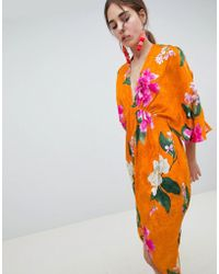 ASOS - Kimono Midi Dress In Bold Floral Jacquard - Lyst