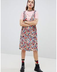 865bc22de9 Love Moschino - Floral Print Tunic Dress With T-shirt Underlayer - Lyst