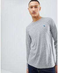 Abercrombie & Fitch | Long Sleeve T-shirt With Moose Logo In Grey Marl | Lyst