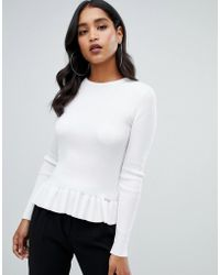 Lipsy - Ribbed Sweater With Pephem In Ivory - Lyst