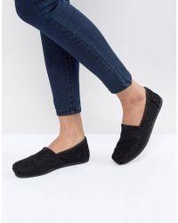 TOMS - Black Crochet Lace Shoes - Lyst