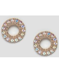 Missguided - Diamonte Circle Studs In Gold - Lyst