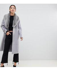 ASOS - Asos Design Petite Faux Fur Collar Coat With Tie Belt - Lyst