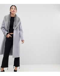 ASOS - Asos Design Petite Faux Fur Collar Coat With Tie Belt - Lyst