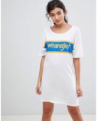 Wrangler - Blue And Yellow Logo T-shirt Dress - Lyst
