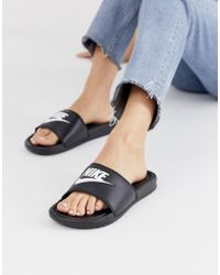 0d8b466ad206 Nike Pastel Benassi Sliders In Platinum in Gray - Lyst