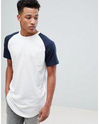Jack & Jones - Originals Longline T-shirt With Raglan Sleeve - Lyst