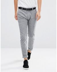 SELECTED - Trousers In Marl Cotton - Lyst