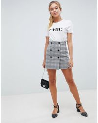 ASOS - Double Breasted Mini Skirt In Check - Lyst