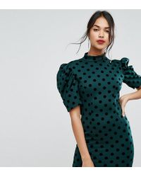 PrettyLittleThing - Polka Dot Open Back Mini Dress - Lyst