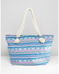 South Beach - Blue Geo Print Canvas Tote With Knotted Rope Handles - Lyst