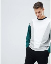 ASOS - Oversized Sweatshirt In White With Colour Blocking - Lyst