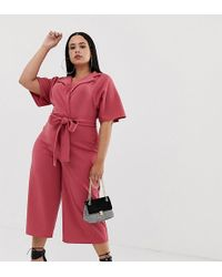 aa0e6b8bcdf8 Boohoo - Exclusive Belted Tailored Culotte Jumpsuit In Dark Rose - Lyst