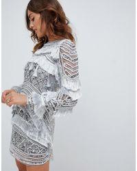 A Star Is Born - Fringe Detail Mini Dress In Allover Silver Embellishment - Lyst