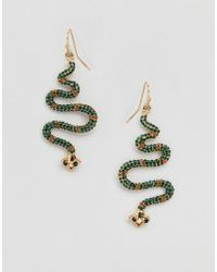 Glamorous - Embellished Snake Drop Earrings (+) - Lyst
