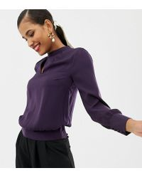 Oasis - Blouse With Key Hole Detail In Purple - Lyst