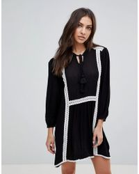 ENGLISH FACTORY - Long Sleeve Smock Dress With Lace Trim And Slip Dress - Lyst