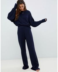 ASOS - Premium Lounge Knitted Ribbed Wide Leg - Lyst