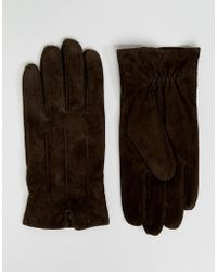 Barneys Originals - Barneys Suede Gloves In Brown - Lyst