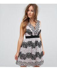 Little Mistress - Lace Applique Contrast Mini Prom Dress - Lyst