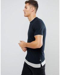 Jack & Jones - Originals Longline T-shirt With Contrast Drop Hem Detail - Lyst
