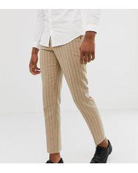 ASOS - Tall Skinny Crop Smart Trouser In Stone Pinstripe Wool Mix - Lyst