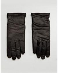 AllSaints - Yield Leather Gloves In Black - Lyst