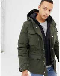 Schott Nyc - Smith 18 Detachable Quilted Hooded Insert M65 Parka Jacket Slim Fit In Green/black - Lyst