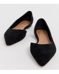 1a67e527abc7 ASOS - Wide Fit Virtue D orsay Pointed Ballet Flats In Black - Lyst
