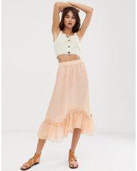 7d0bd7141f ASOS Midi Pencil Skirt In Sheer Stripe With Hot Pant in Black - Lyst